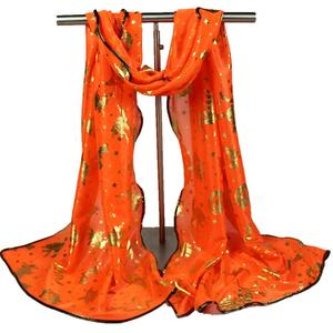 Women Halloween Pumpkin Print Scarf Long Soft Wrap Shawl Stole Pashmina Scarves