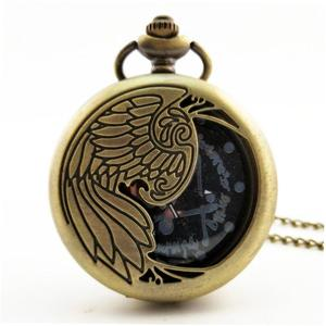 LALA Phoenix Carved Vintage Antique Round Dial Quartz Pocket Watch Necklace Clock