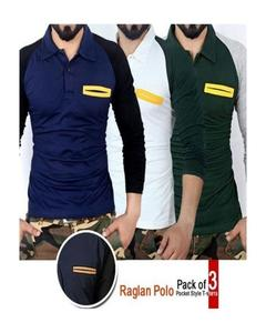 Pack Of 3 - Raglan Polo Pocket Style T-Shirts For Men