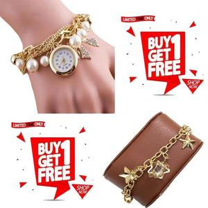 Stylish Bracelet Pearls Watch With Free Charming Bracelet For Women/Girls With Free Box(golden)