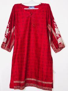 Red Stylish Embroidered Shirt/Kurta For Women - Stitched