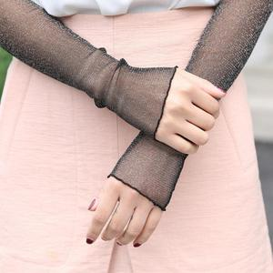 Woman Spring Summer Thin Long Tube Transparent Breathable Gauze Ice Silk Stack Ankle Socks Sunscreen Cuff Sleevelet