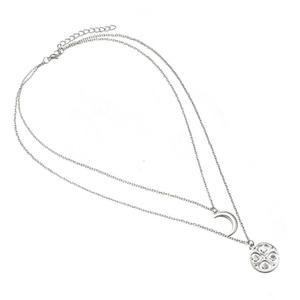 Retro Moon Hollow Necklace Multilayer Pendant Chain Sweater