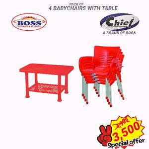 Set Of 4 Baby Plastic Chairs And Plastic Table - Red
