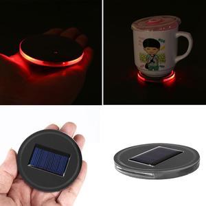 Solar Energy Cup Bottle Holder Bottom Pads Cushion LED Light Cover Trim For Car
