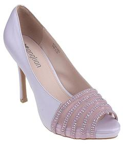 Purple Imported Synthetic Leather Glittery High Heels for Women - UU95