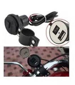 Bikes 12V Motorcycle Mobile Phone USB Charger Port Power Adapter Socket Waterproof Hot (Black)
