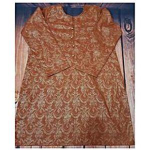 GncBrown With Golden Self Block Print Stitched Cotton Kurta