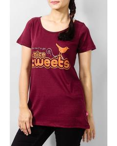 Maroon Cotton Tunic With Nice Tweets Print