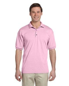 Light Pink Cotton & Polyester Polo Shirt For Men