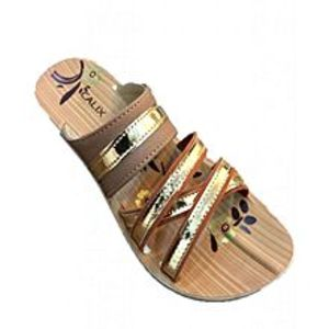 Modern Footwear Golden Synthetic Rexine Casual Slipper For Women