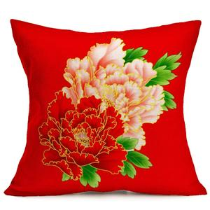 Peony Sofa Bed Home Decoration Festival Pillow Case Cushion Cover