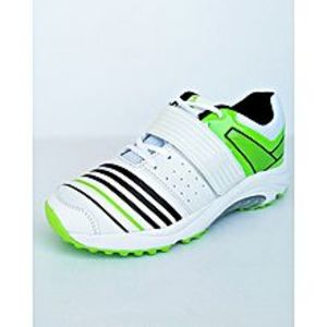 Pristine Green & White Cricket Gripper Shoes For Men