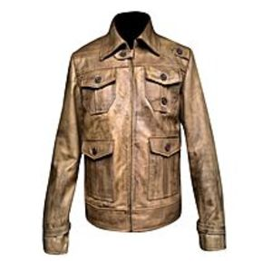 TASHCO Clothing Men's 4 Pocket Front Brown Leather Jacket