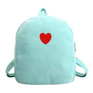 Preppy Chic Girls Canvas Love Printed Mini Backpack Simple School Bag