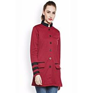 Abdul CollectionAB-Stylish Fleece Winter Coat for Women-Red