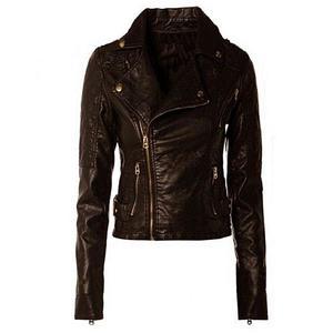 Women Slim Fit Faux/ PU Leather Jacket Biker Style
