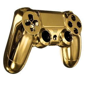 Chrome Plating Housing Shell Case Cover W/Buttons for PS4 Controller DualShock 4 Golden