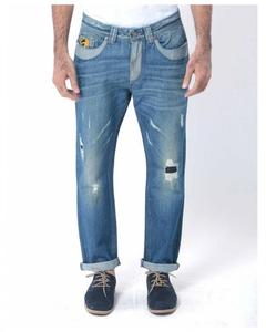 Blue Denim Distressed Jeans with Contrast - M-2143