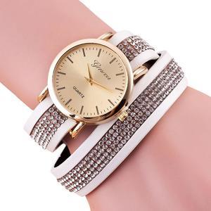 Women Crystal Bracelet Quartz Braided Winding Wrap Wrist Watch WH