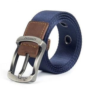 Men's Nylon Canvas Belt Casual Outdoor Army Fan Belt(105CM)-Royal Blue