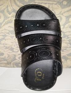 Black Synthetic Leather Slippers For Men