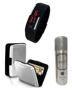 Pack of 3 - Aluma Wallet, LED Bracelet Watch & Body Spray