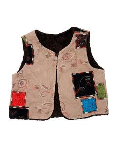 Stylish Brown Printed Fleece And Velvet Sweater For Baby