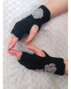 Black Flower Style Wool Gloves for Women