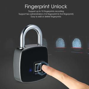 USB Rechargeable Smart Keyless Fingerprint Lock IP65 Waterproof Anti-Theft Security Padlock Door Luggage Case Lock