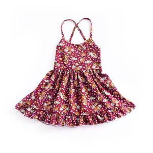 Summer Kids Girls Outfits Halter Dress Floral Print Backless Bandage wine red 80cm