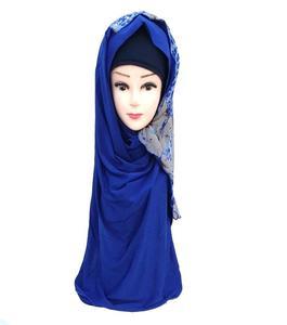 Blue Polyester Turkish Hijab Shawl for Women