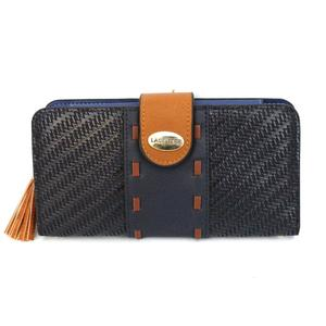 Ladies Wallet Card Holder Lather Phone Pouch Clutch Navy For Women's