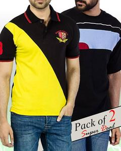 Combo Pack Of 2 Contrast Polo T-Shirt + Round Neck T-Shirt