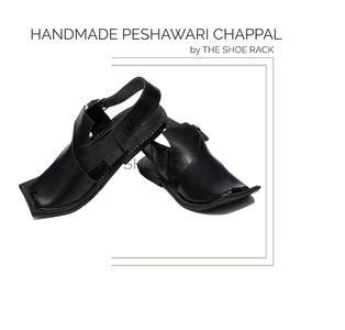 The Shoe Rack Original Leather Handmade Black Peshawari Chappal