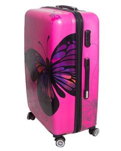 Butterfly Printed Trolley BagPink Poly Carbonate