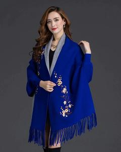 Blue Embroidery Printed Shawl For Women