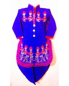 Linen Kurta Shalwar Embroidered Suit For Girls - Royal Blue