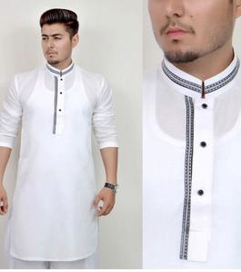 White Stitched Kurta For Men