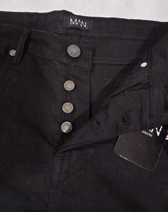 Black Slub Denim Branded Pant for Men in Slim Fitting