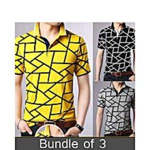 super bazarPack Of 3 Polo Line Texture T-Shirt'S