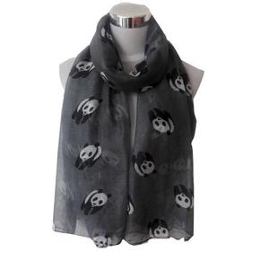 Women Lady Panda Print Shawl Voile Rectangle Scarf Scarves