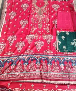 Red Lawn 3p with lawn duppata