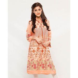 CARDINAL KNKE1  - Peach Embroidered Cotton Khadi Kurti For Women
