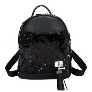 Sequins Tassel Backpack Women Large Capacity Travel Shoulder School Bags