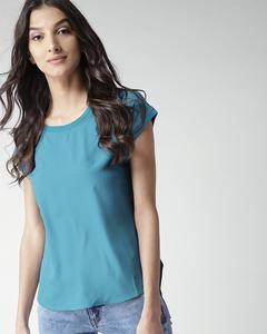 Turquoise Blue Crew Neck Half Sleeves Tunic For Women. RID-270-TB