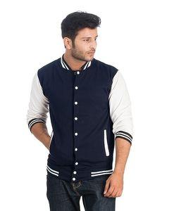 Milano Mall Navy Blue & White Fleece Varsity Baseball Jacket For Men