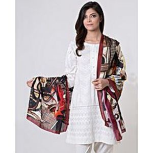Bonanza SatrangiMaroon Polyester Scarf for Women
