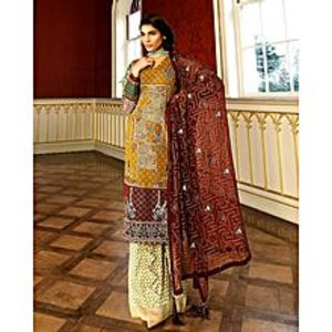 Asim JofaMustard Embroidered Unstitched Luxury Lawn 3Pcs Suit for Women