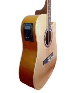"40"" Semi Acoustic Guitar with Built in Tuner & 5 Band Equalizer - Natural Brown"
